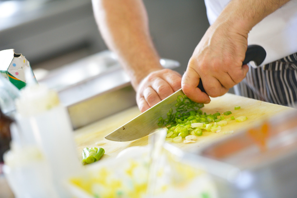 Chef chopping food