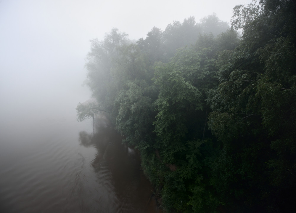 River Scene In Strong Fog
