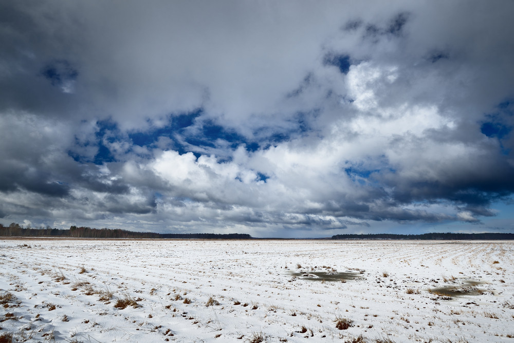 Heavy Snow Storm Clouds Over Fields In Countryside