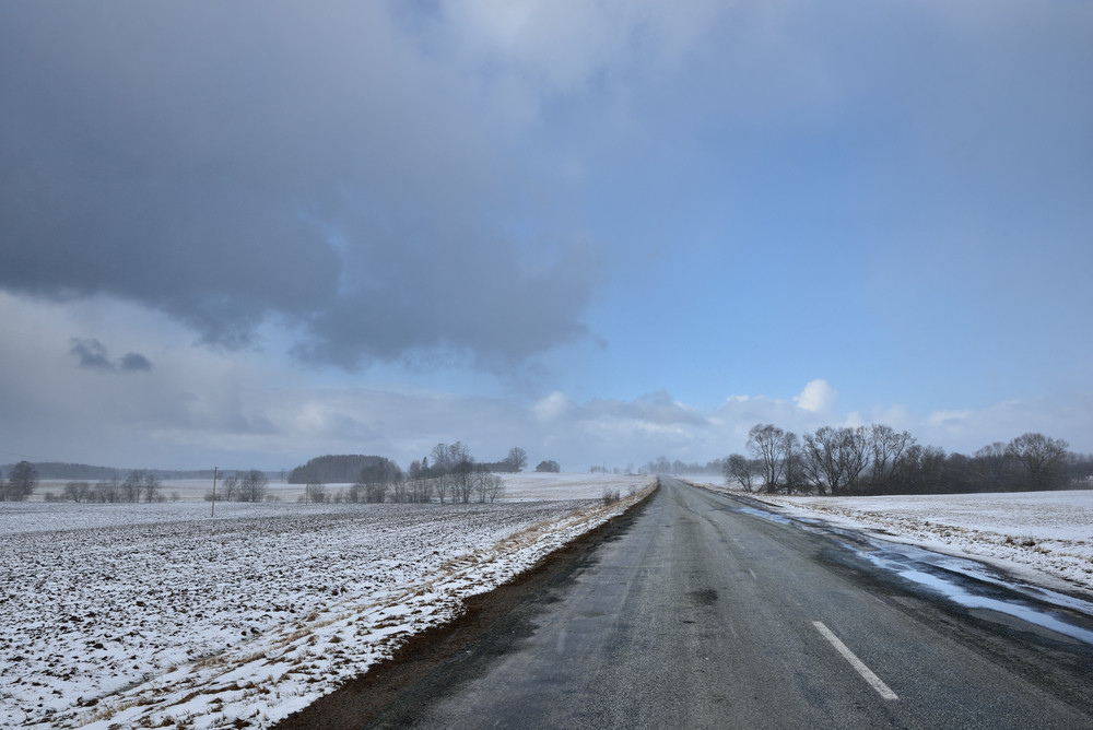Old Automobile Road In Countryside Area In Winter.