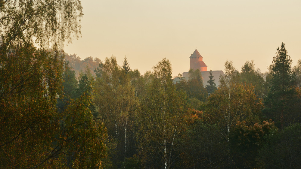 View On Turaida Castle And Gauja Valley In Autumn In Sigulda