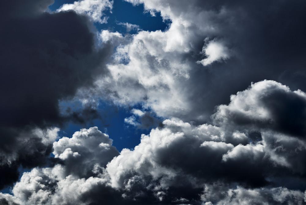 Classic Cloudscape. Blue Sky With Ornamental Clouds