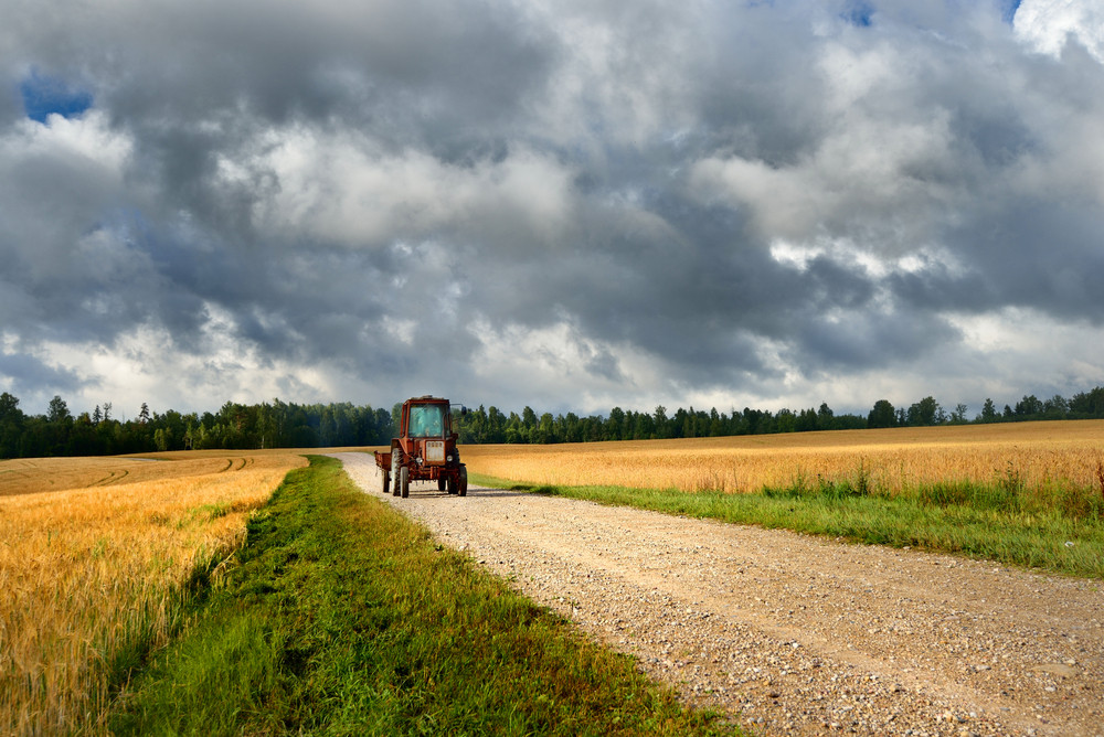 Tractor On The Road And Cereal Field Against Dark Stormy Clouds