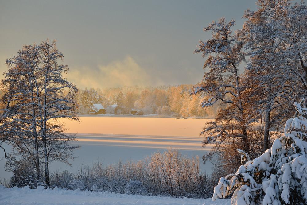 Beautiful Frozen Winter Lake Landscape In Latvia