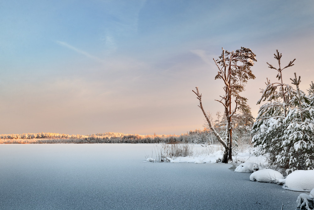 Frozen Lake Winter Sunrise Landscape