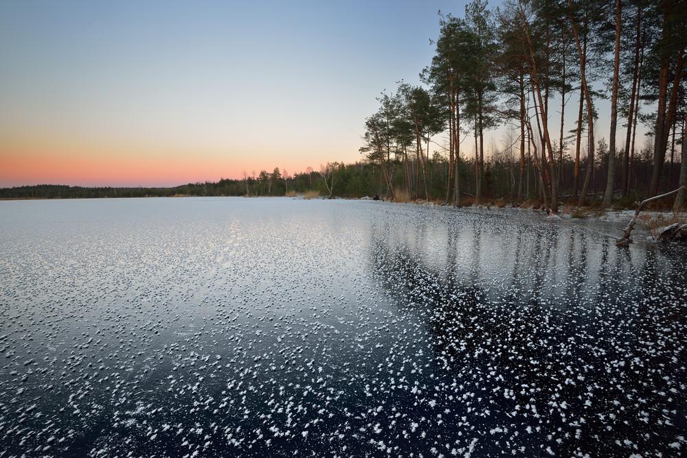 Frozen Lake Winter Sunrise Landscape