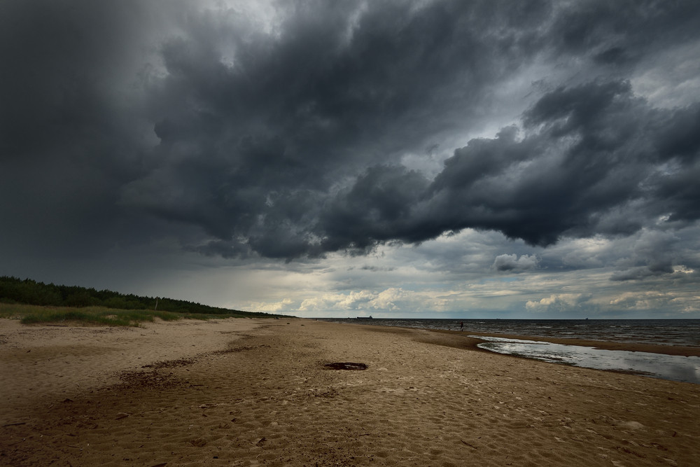 Baltic Sea Shore In Latvia In A Stormy Weather