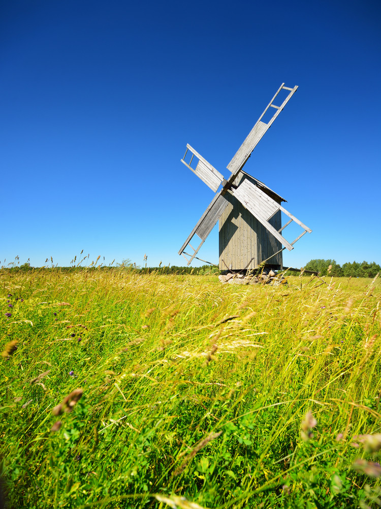 Old Wooden Windmill On Hiumaa Island