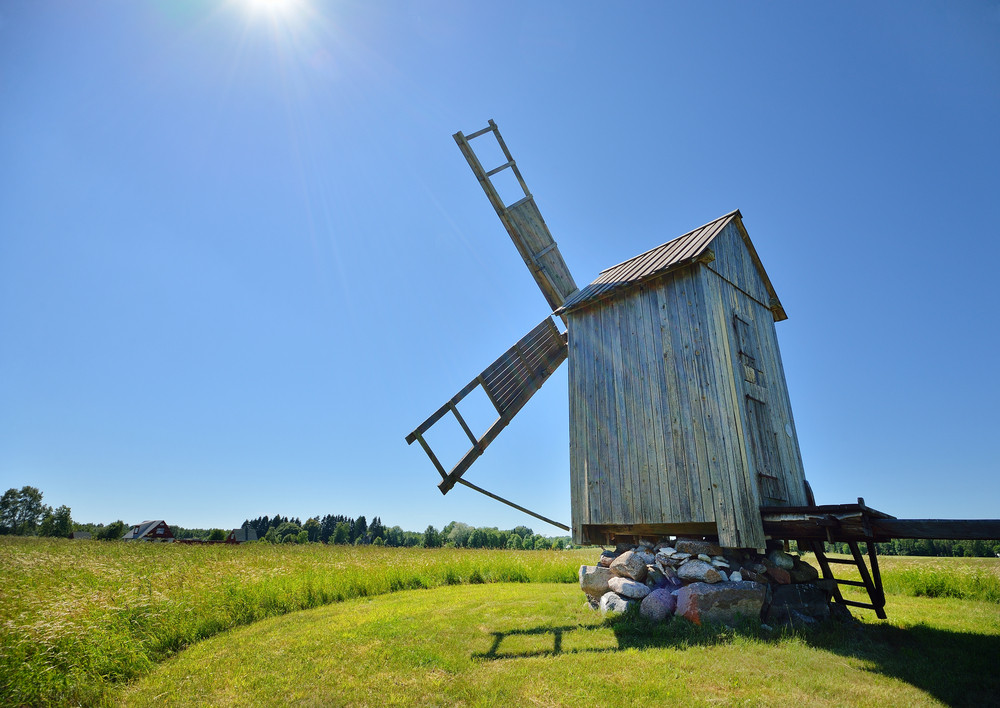 Old Wooden Windmill On Hiumaa Island