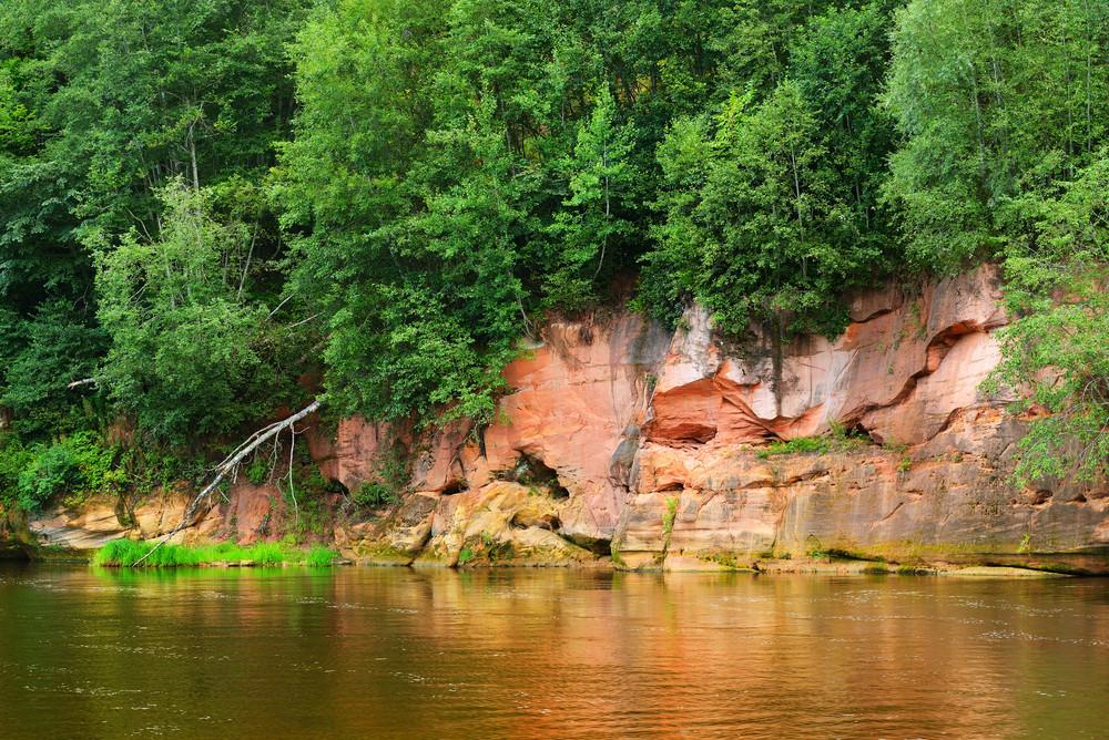 Sandstone Cliffs In Gauja National Park