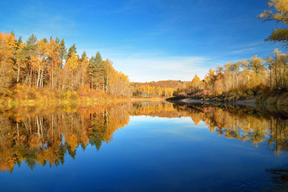 Autumn River Gauja In Sigulda