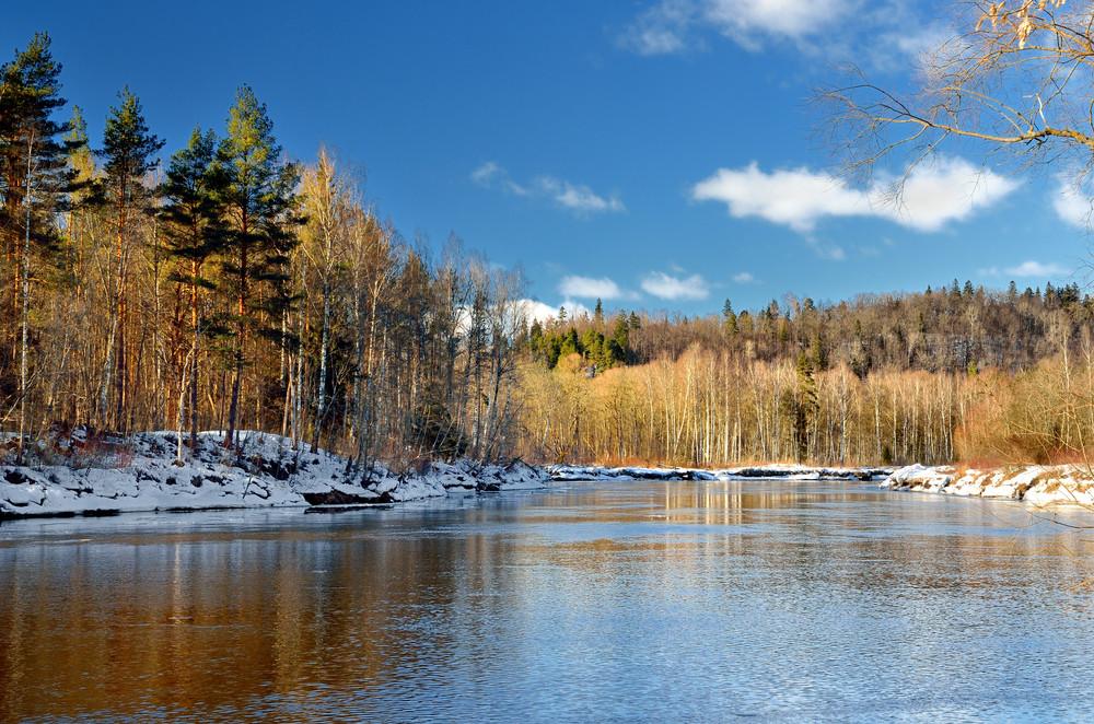 Gauja River Valley Winter Landscape. Sigulda