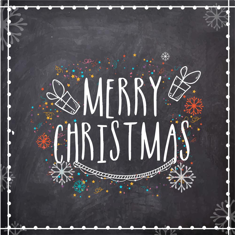 Merry Christmas celebration greeting card design on chalkboard background.