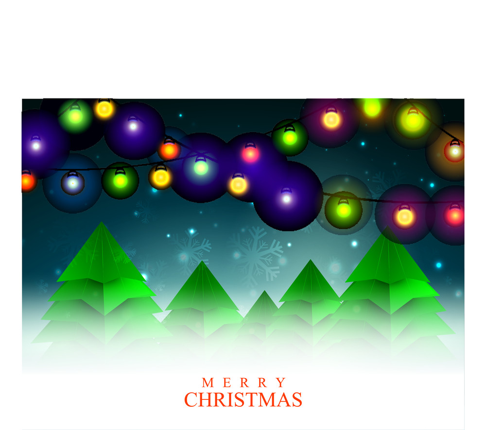 Creative Xmas Trees on colorful lights and snowflakes decorated shiny background for Merry Christmas celebration.