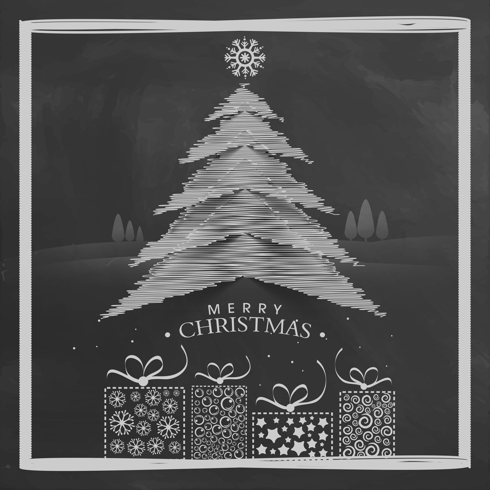Creative Xmas Tree with beautiful wrapped gifts on chalkboard background for Merry Christmas celebration.