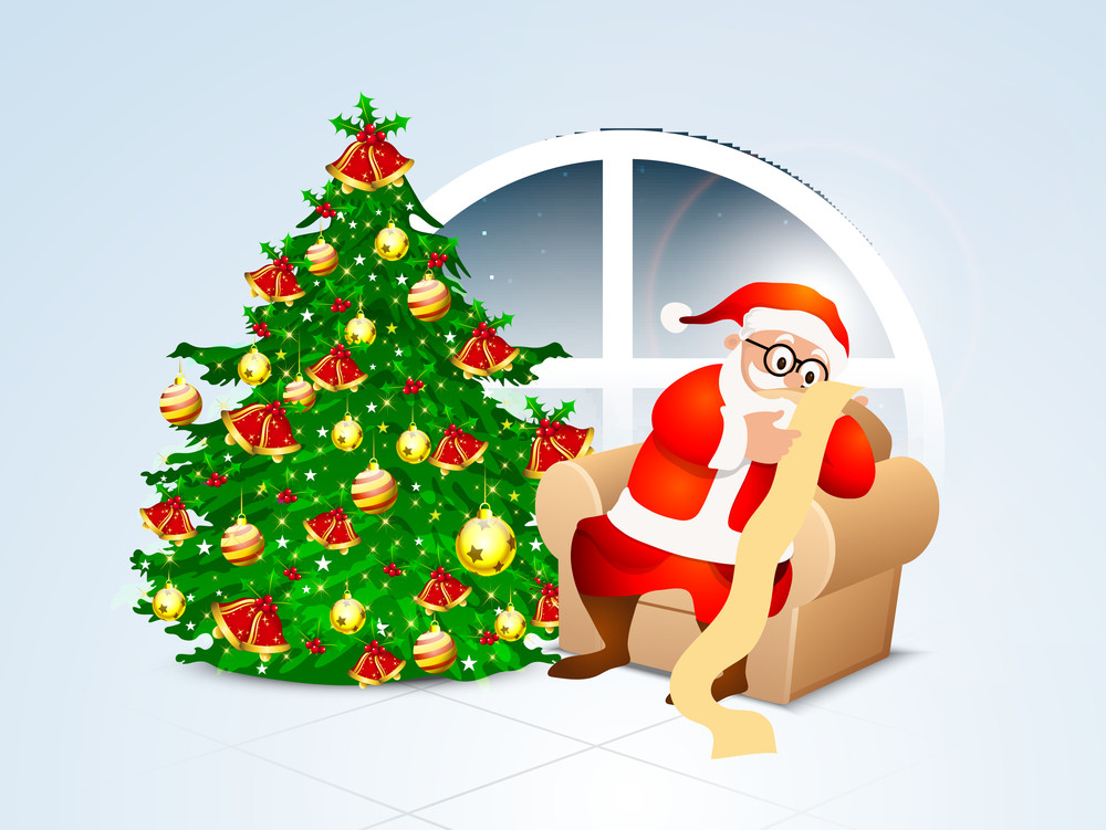 Shiny Xmas Tree with ornaments and illustration of Santa Claus reading wish list for Merry Christmas celebration.