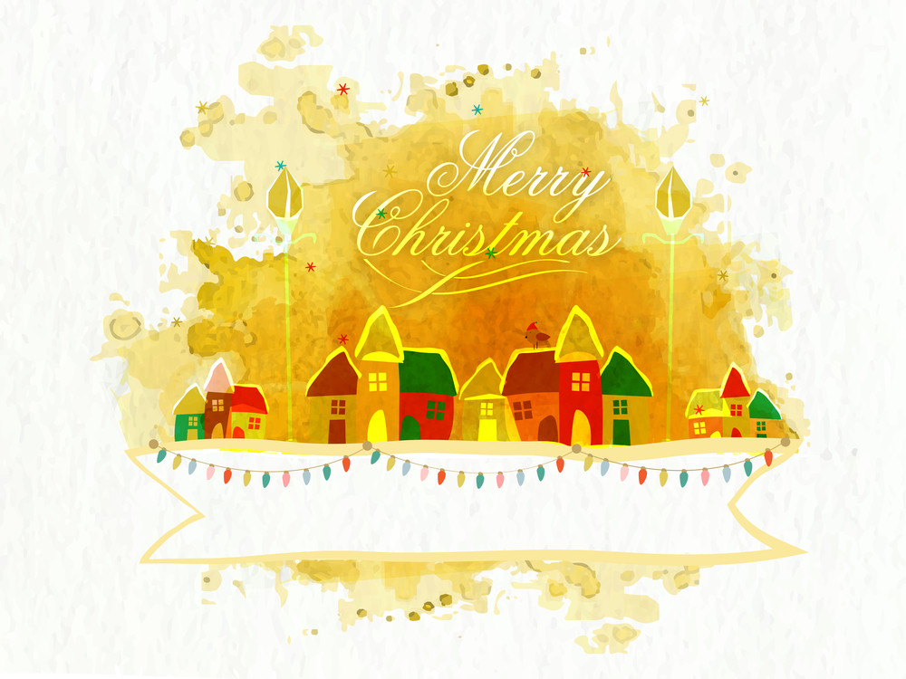 Colorful huts with lights decorated blank ribbon on grungy color splash background for Merry Christmas celebration.