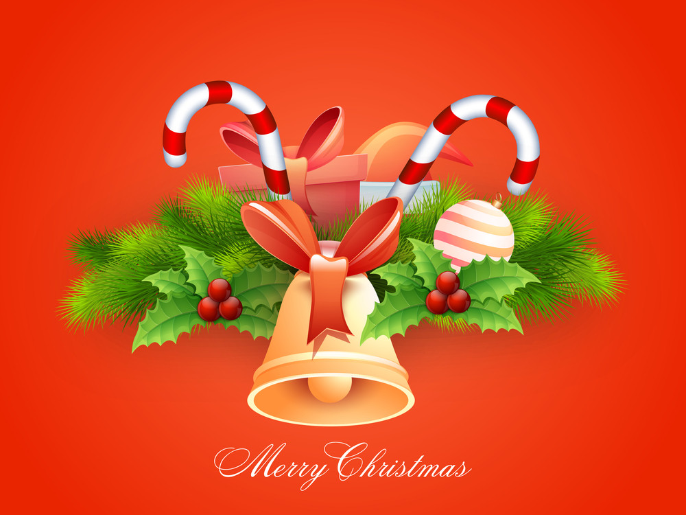 Merry Christmas celebration greeting card with glossy ornaments on orange background.