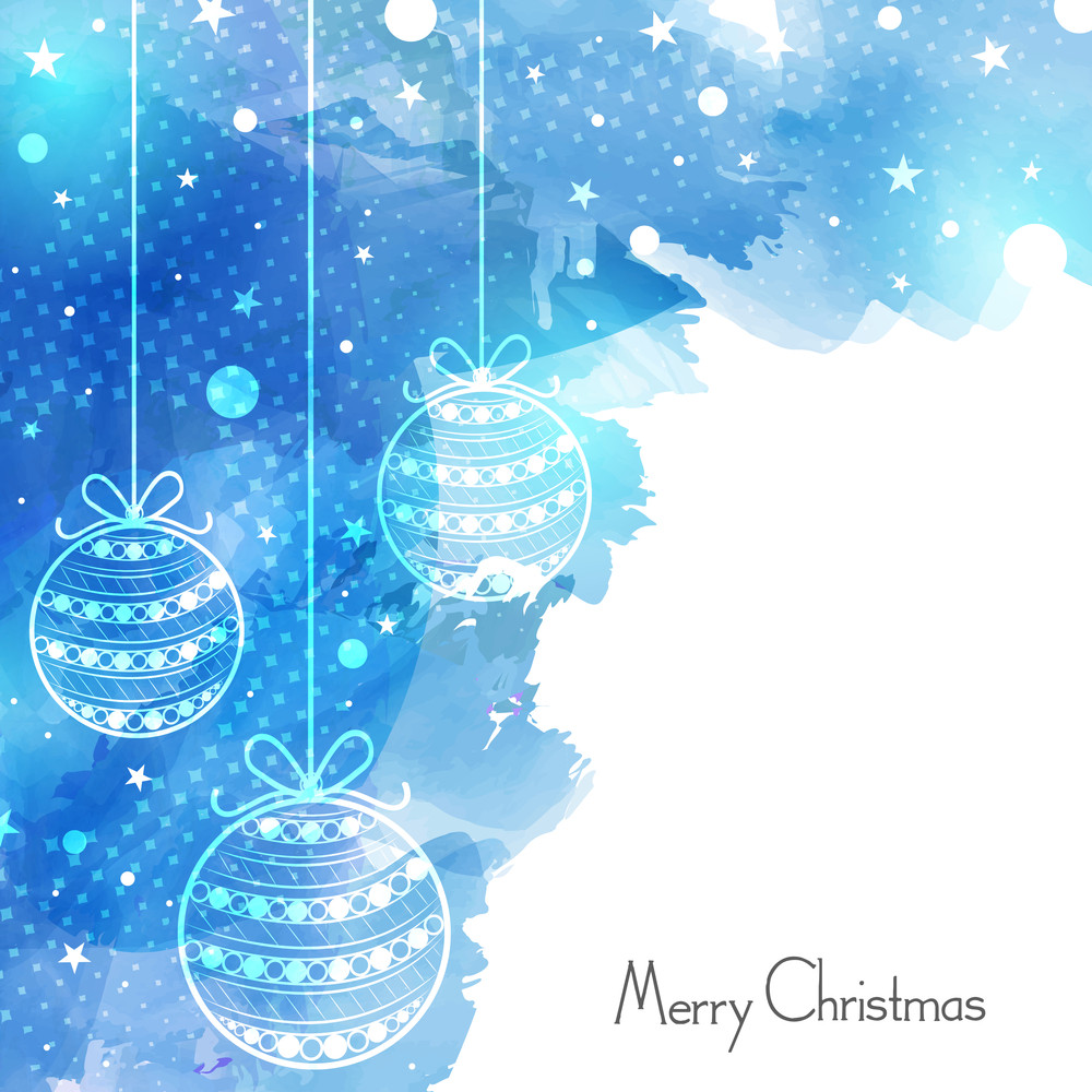 Merry Christmas celebration greeting card design decorated with beautiful hanging Xmas Balls on stylish blue background.