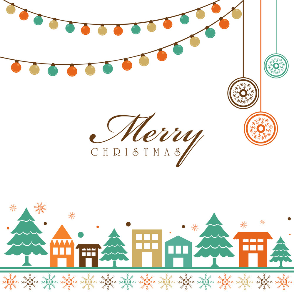 Merry Christmas celebration greeting card design decorated with Xmas Tree