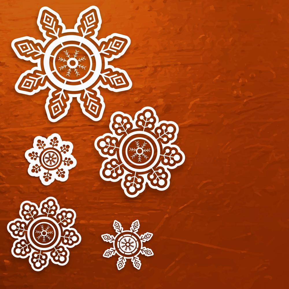 Creative white snowflakes on stylish shiny background for Merry Christmas celebration.