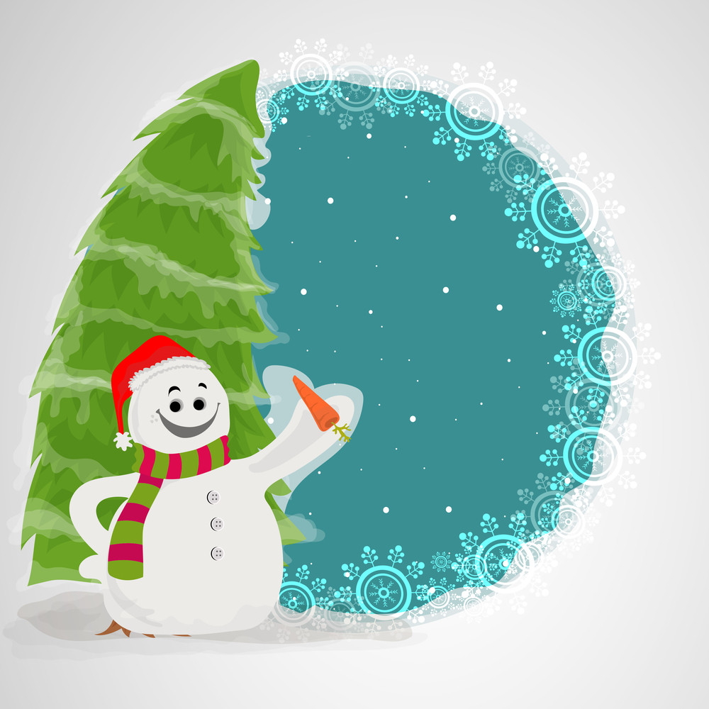 Creative illustration of cute happy Snowman and Xmas Tree on snowflakes decorated background for Merry Christmas celebration.