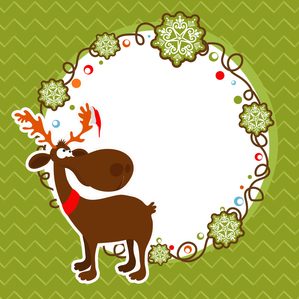 Merry Christmas celebration greeting card design decorated with cute reindeer