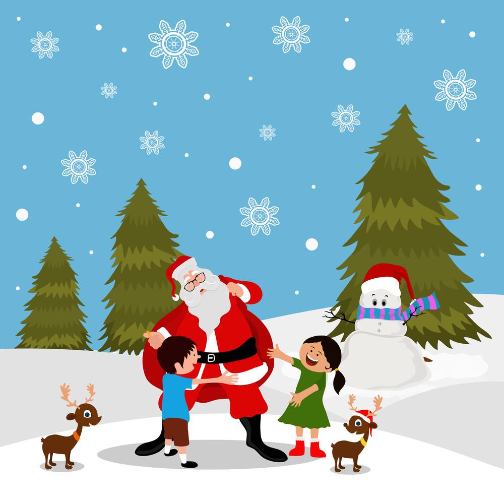Merry Christmas celebration with creative illustration of Santa ...