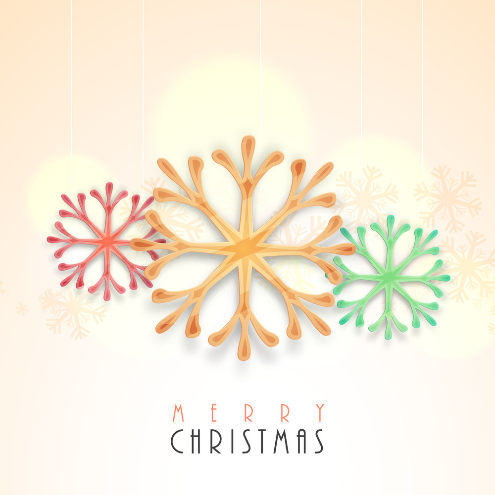 Creative colorful snowflakes on shiny background for Merry Christmas celebration.