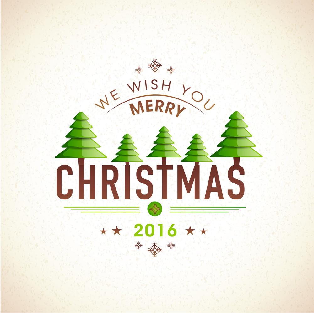 Creative Greeting Card Design With Shiny Xmas Trees On Stylish