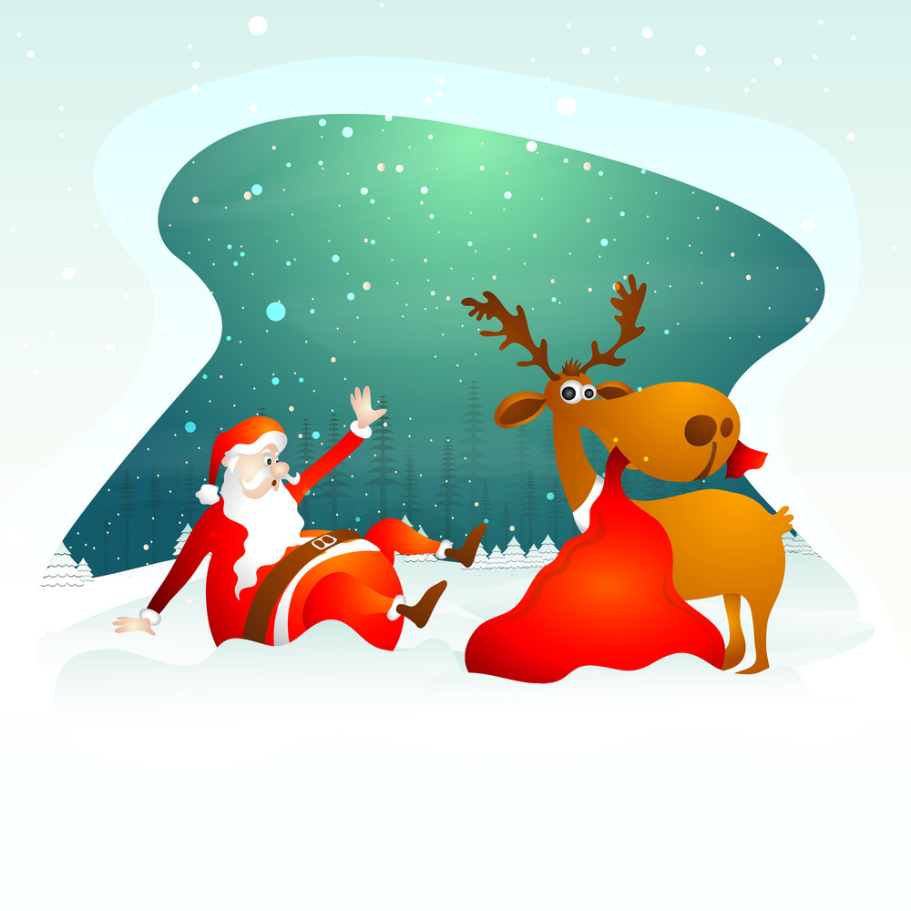 funny santa claus and reindeer with gift sack on beautiful snowy