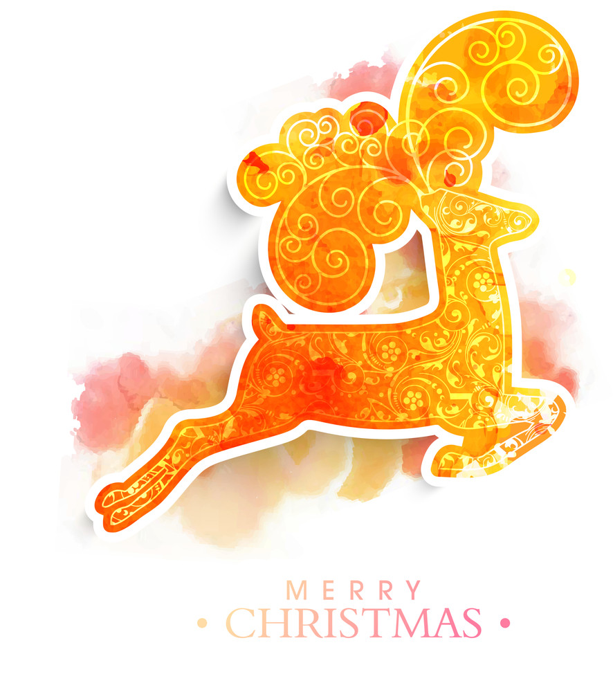 Creative floral design decorated reindeer on colorful splash background for Merry Christmas celebration.