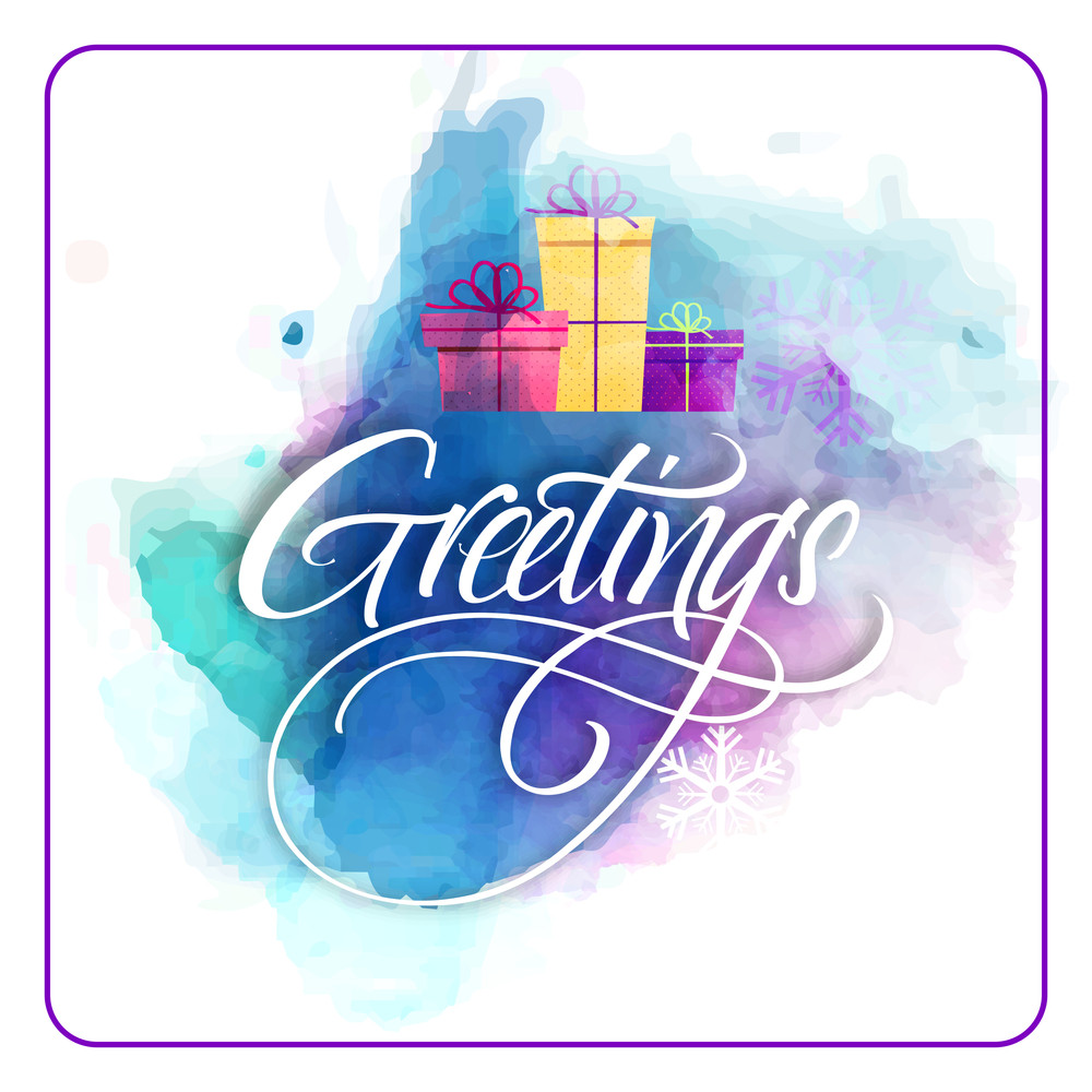 Creative greeting card design with colorful splash and gifts for Merry Christmas celebration.