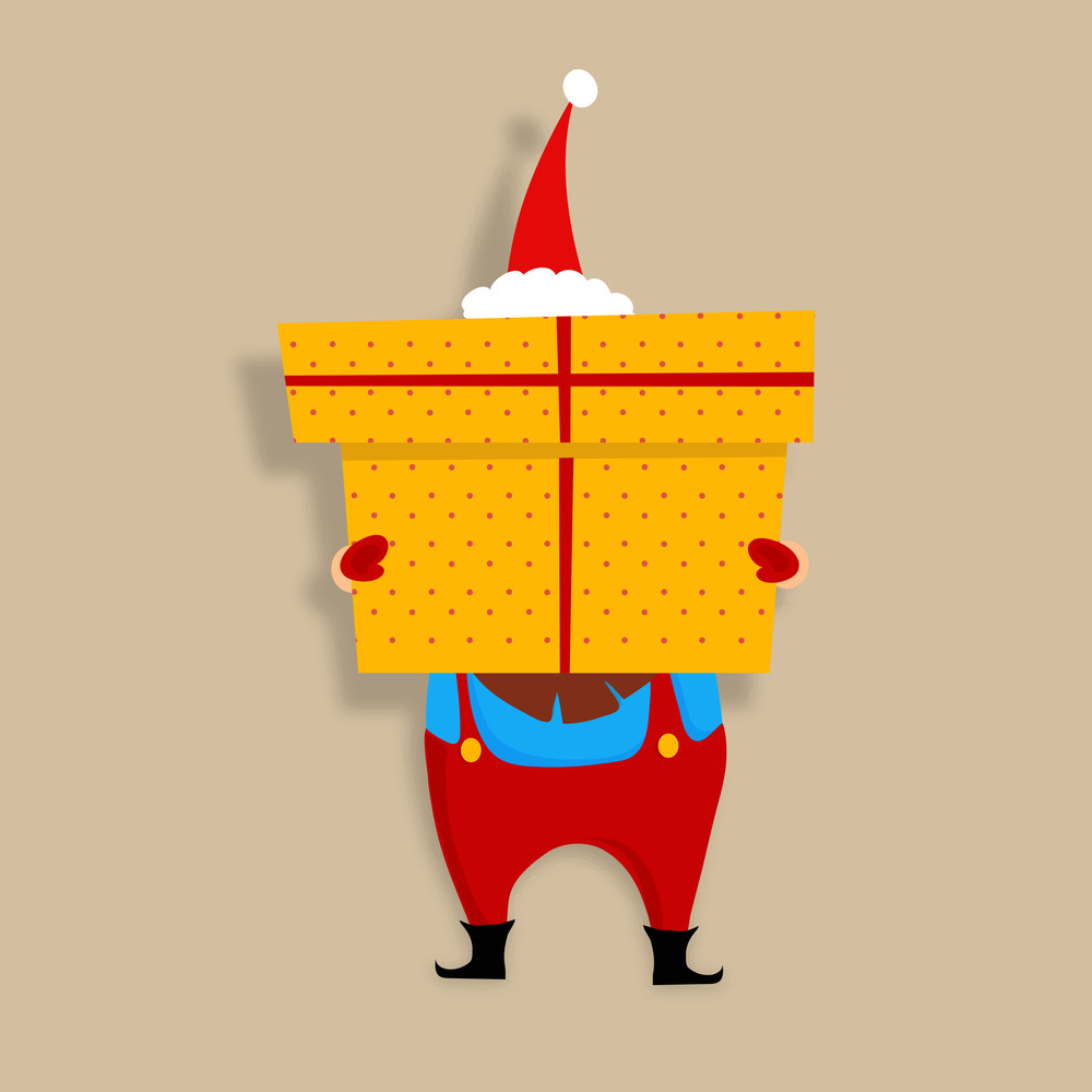 Creative illustration of Santa Claus holding big gift for Merry Christmas celebration.