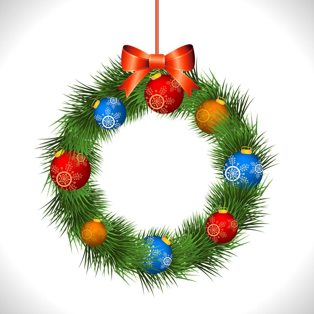 Colorful glossy Xmas Balls decorated elegant wreath hanging on grey background for Merry Christmas celebration.