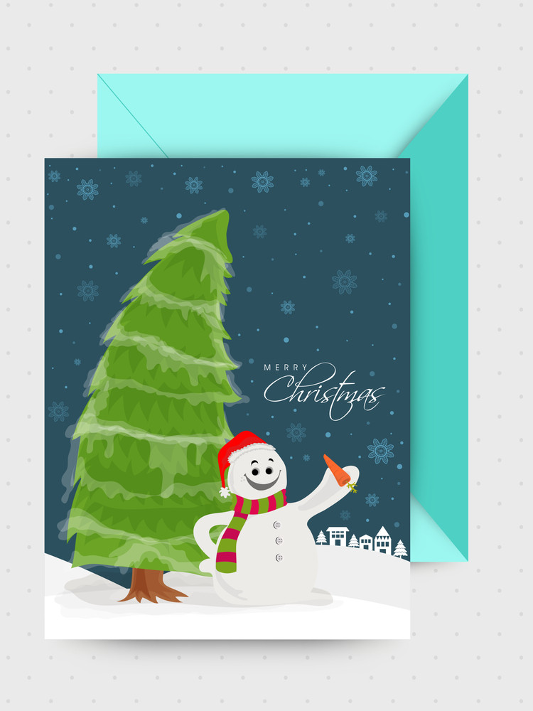Cute snowman and Xmas Tree decorated greeting card with envelope for Merry Christmas celebration.