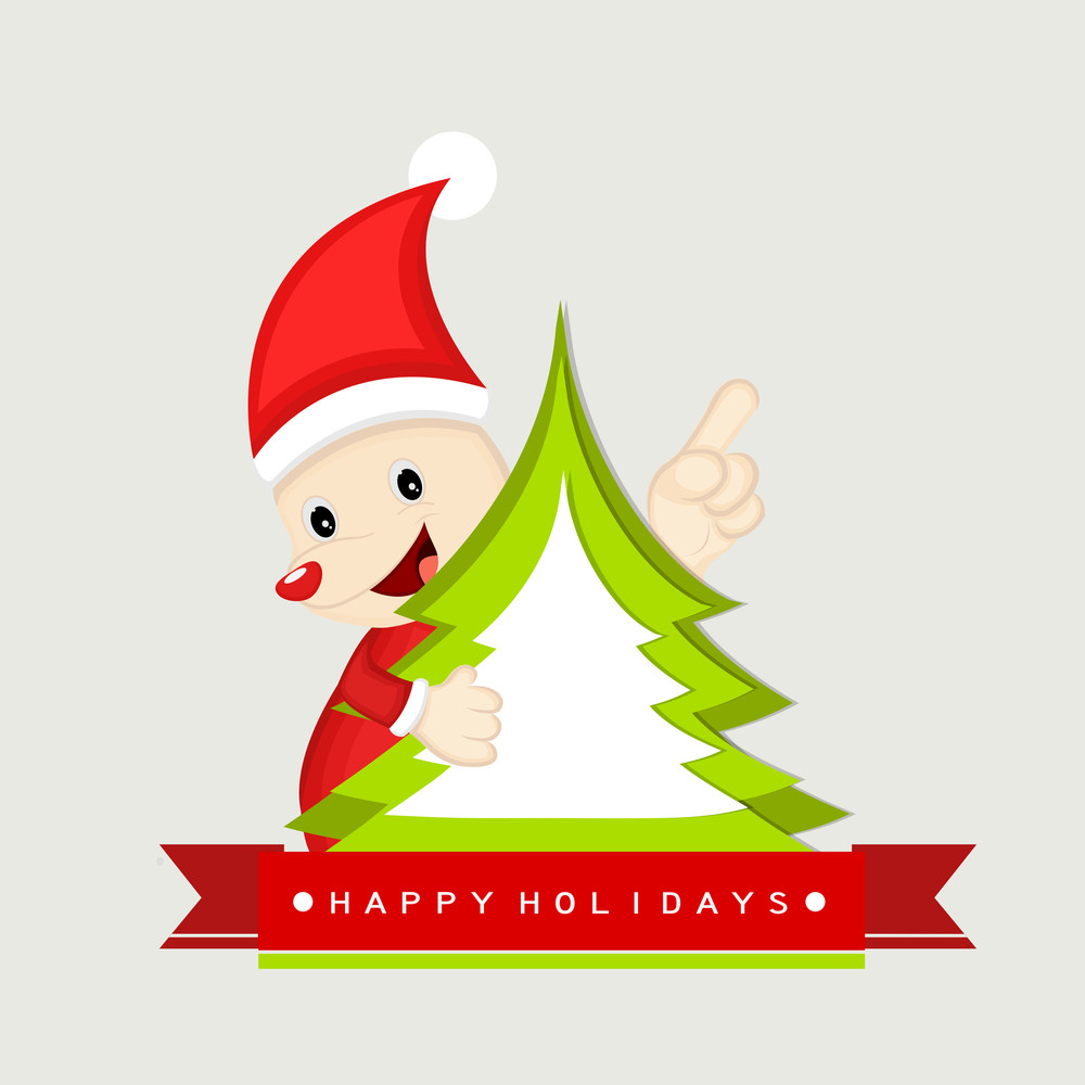 Cute cartoon of a Santa Claus with x-mas tree and stylish text of Happy Holidays for Merry Christmas celebration