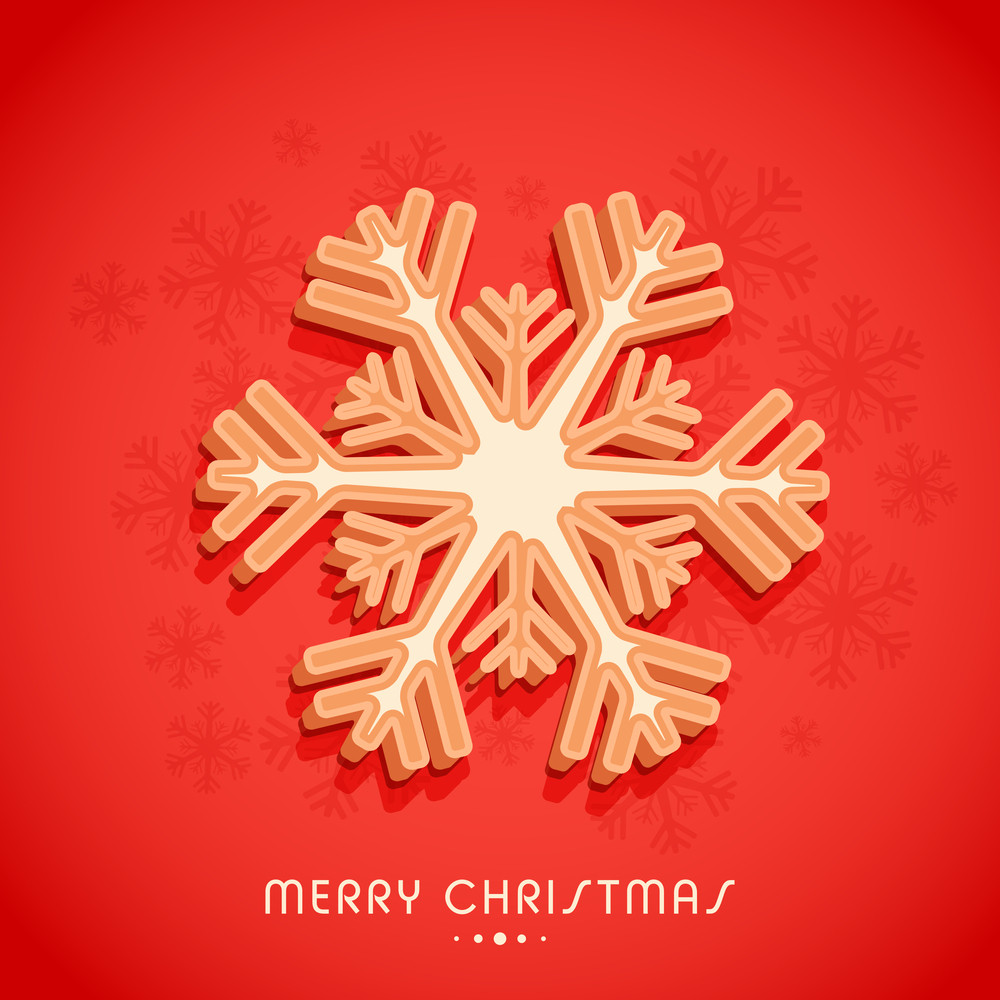Greeting card design with snowflake for Merry Christmas celebration.