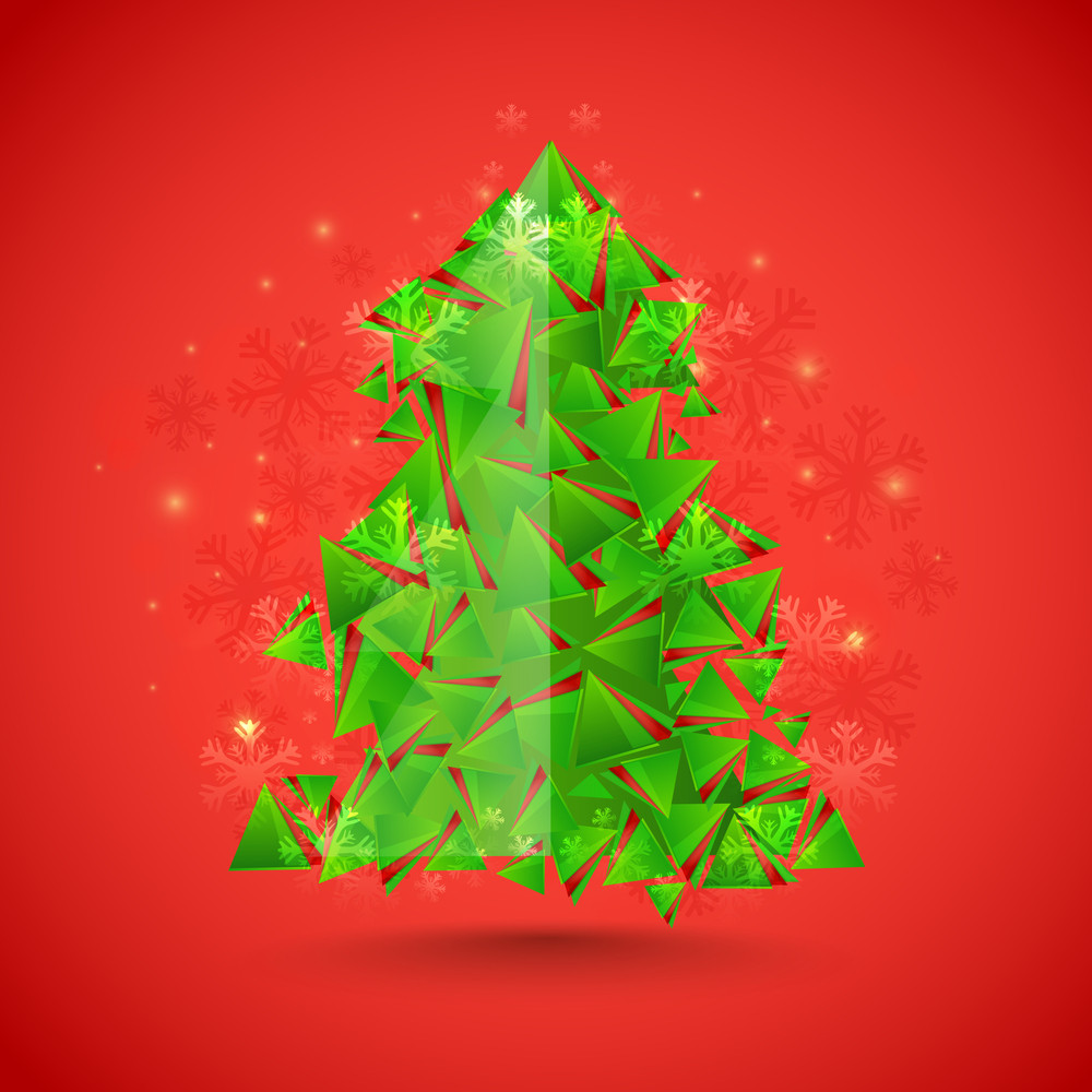 Creative Xmas Tree made by green glossy triangles on snowflakes decorated background for Merry Christmas celebration.