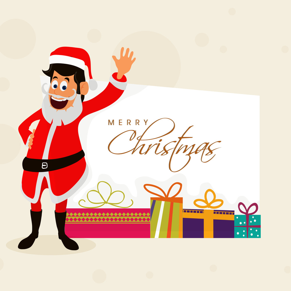 Elegant Greeting Card Design With Happy Santa Claus Waving Hand And
