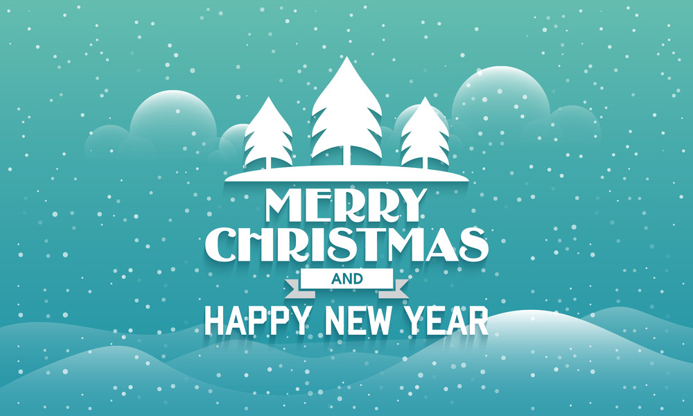 merry christmas and happy new year celebration greeting card design with creative cloudy winter background