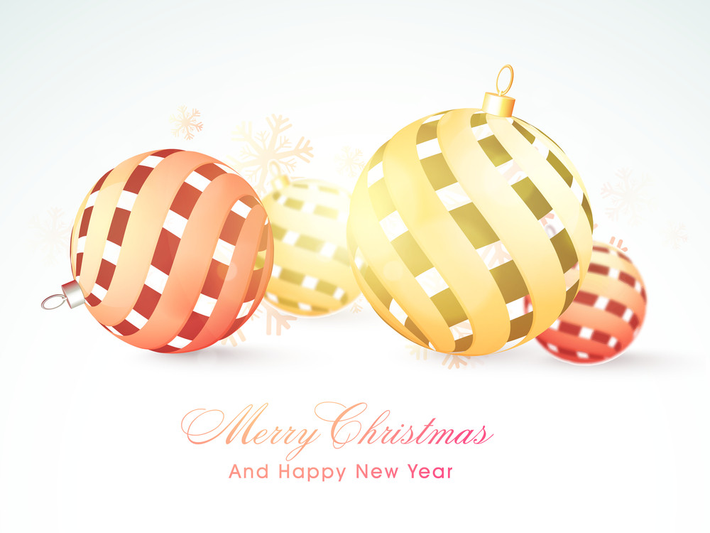 Greeting card design with glossy creative Xmas Balls on snowflakes decorated background for Merry Christmas and Happy New Year celebration.