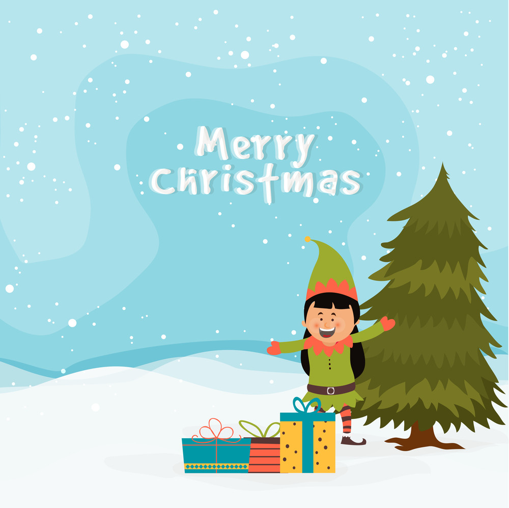 Cute Little Girl Enjoying And Celebrating With Colorful Gifts On Winter Background For Merry Christmas