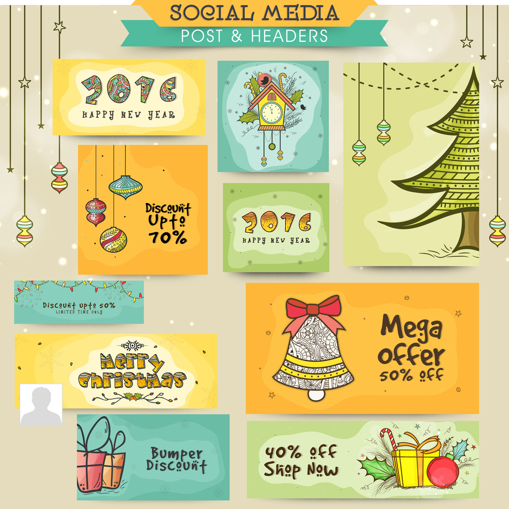 social media post and header set with creative ornaments for merry christmas and happy new year celebration
