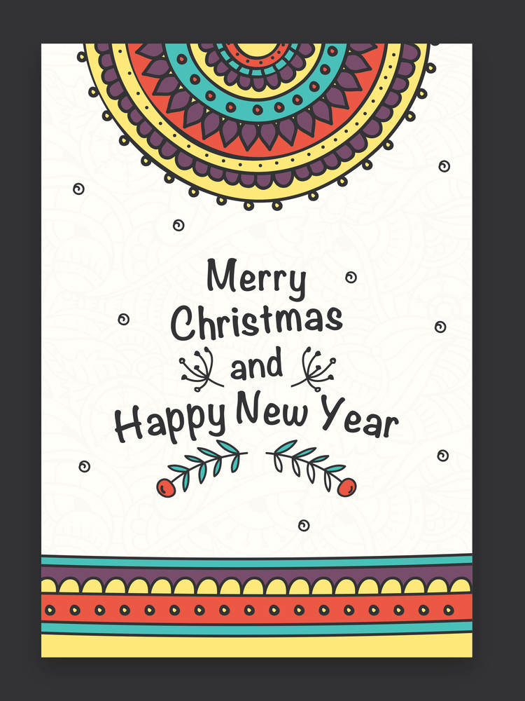 Beautiful colorful floral design decorated greeting card for Merry Christmas and Happy New Year celebration.