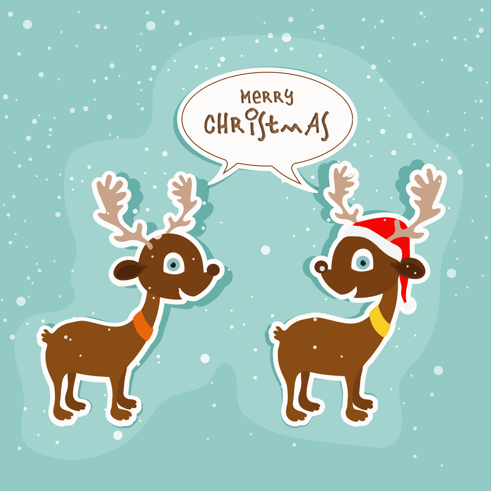 Illustration Of Cute Reindeer Couple Wishing To Each Others On Winter Background For Merry Christmas Celebration