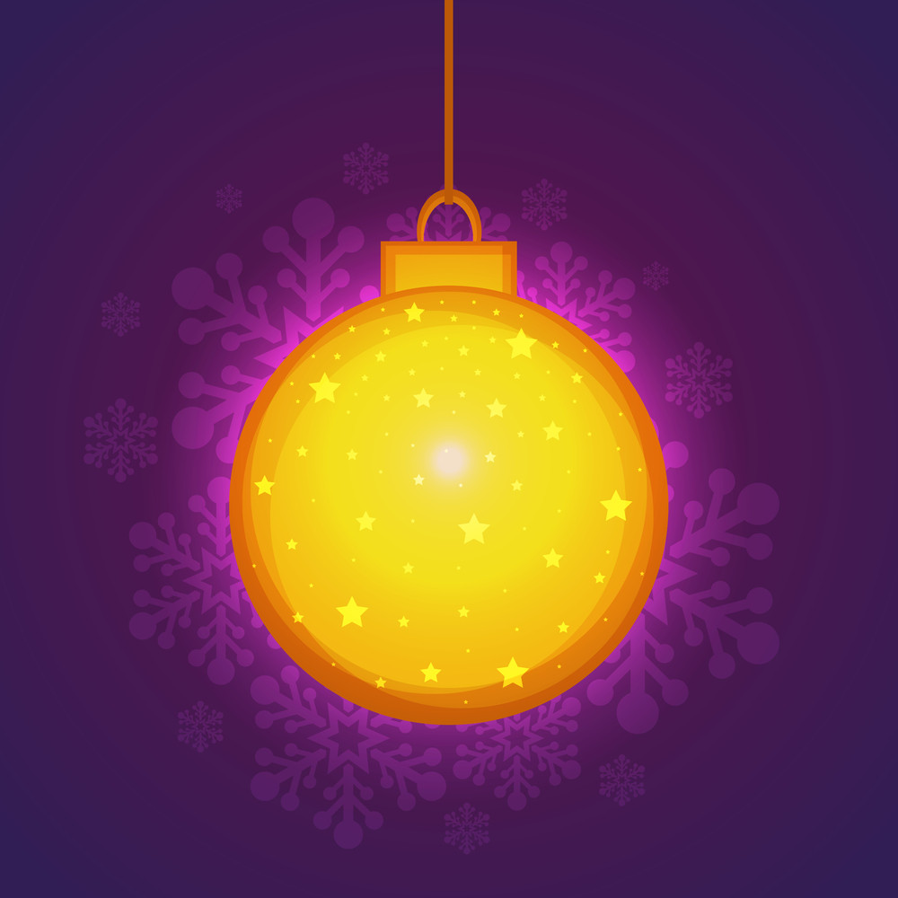 Beautiful golden Xmas Ball hanging on floral design decorated shiny background for Merry Christmas celebration.