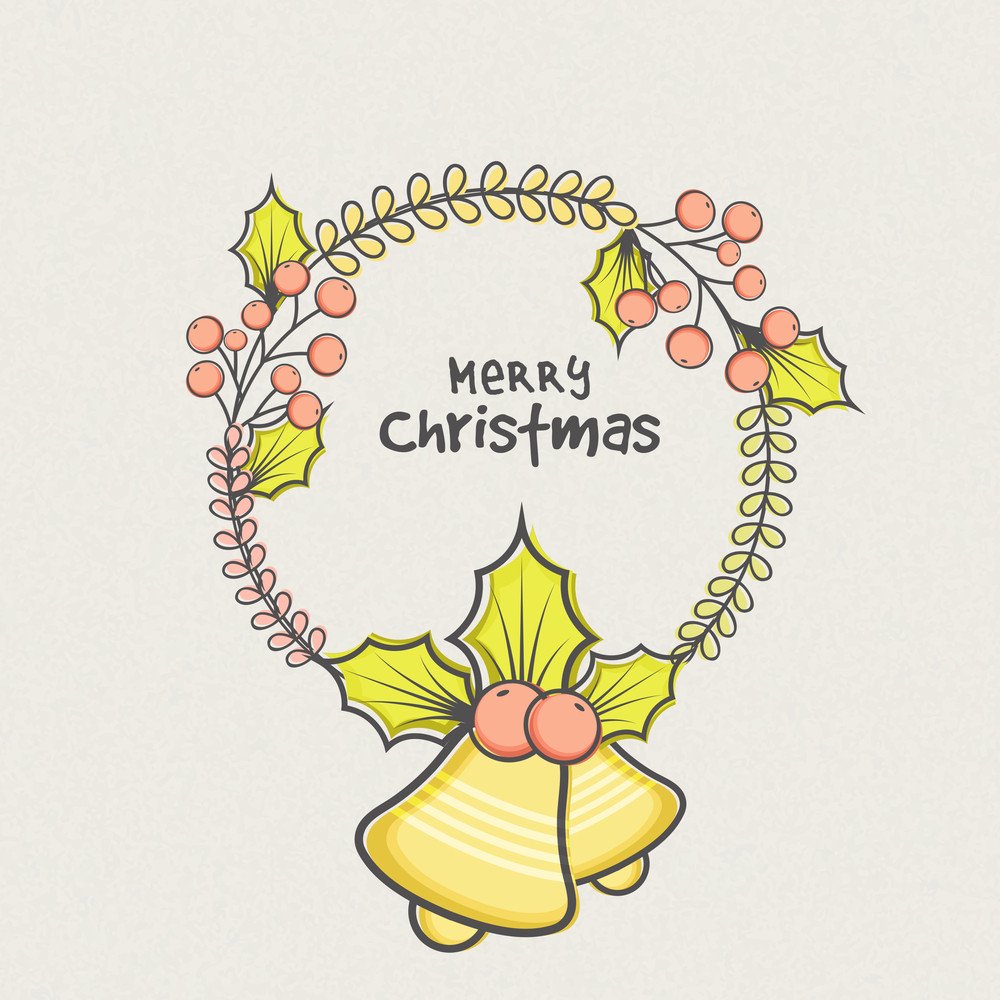 Jingle Bells and Mistletoe decorated greeting card design for Merry Christmas celebration.