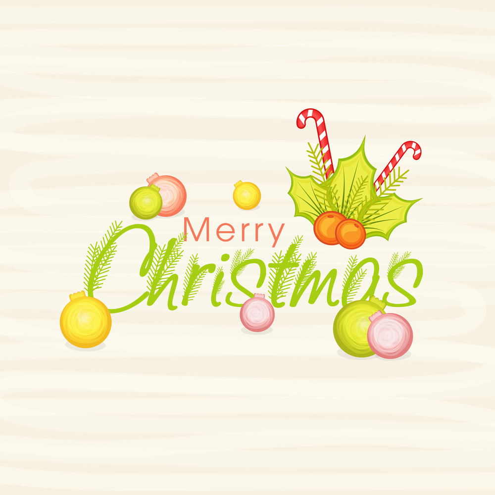 Merry Christmas celebration greeting card design with colorful Xmas Balls