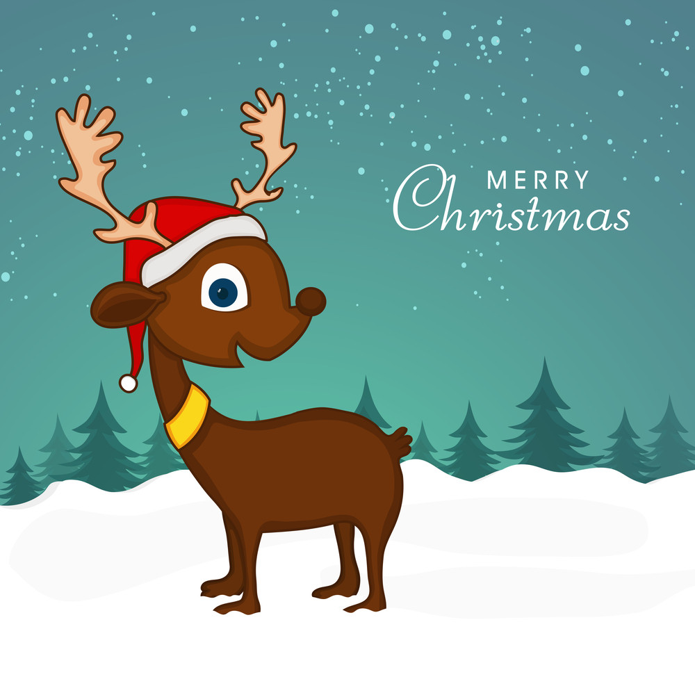 Cute Reindeer in Santa cap on winter background for Merry Christmas celebration.